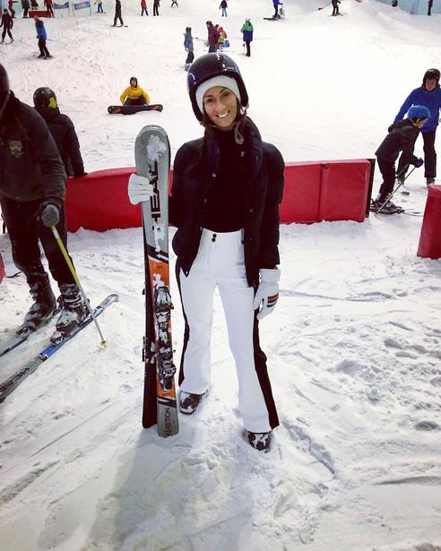 Miss Hillis skiing - in the summer?