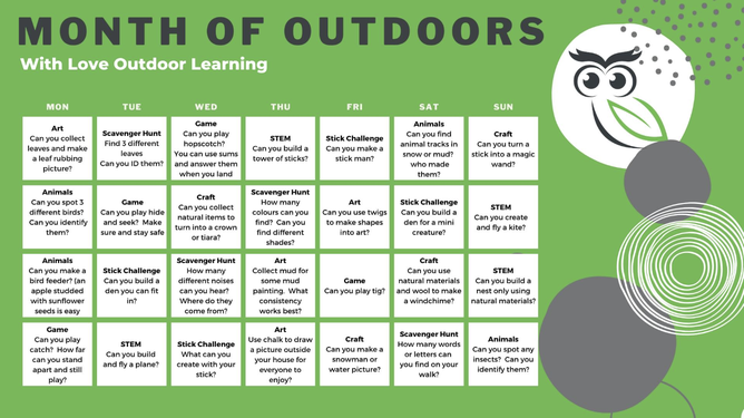 A calendar of activities to inspire you and your family to get outdoors and be creative.