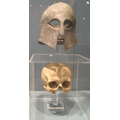 Greek Corinthian-style helmet and the skull reportedly found inside it from the Battle of Marathon,