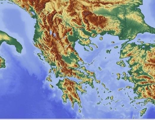 Relief map of Greece (brown is mountains)