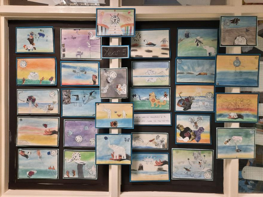 Year 5 created artwork based on the surrealist Salvador Dali using mixed media.
