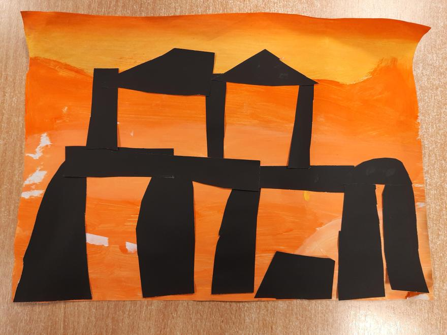 Year 3 created silhouettes of Stonehenge