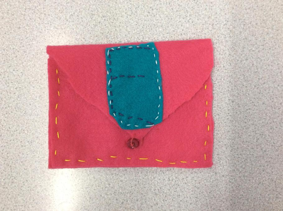 Elizabeth's purse with a button fastener.