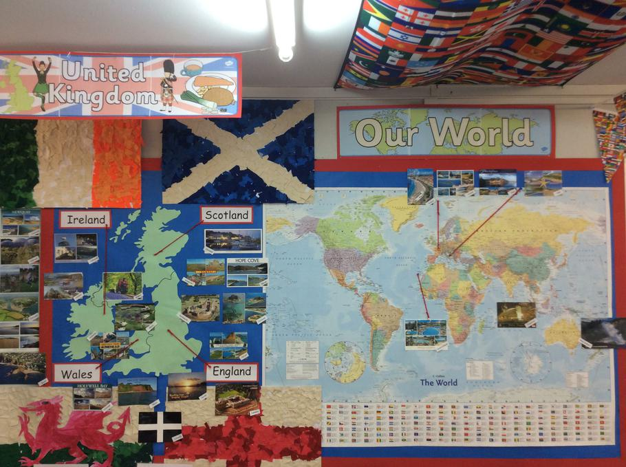 We displayed our postcards.