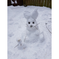 Amelia's snow rabbit and friend