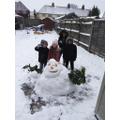 Joshua and his siblings made a snowman