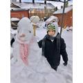 Nathaniel made a snowman.