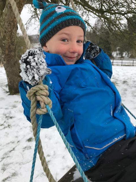 Jack swinging to keep warm