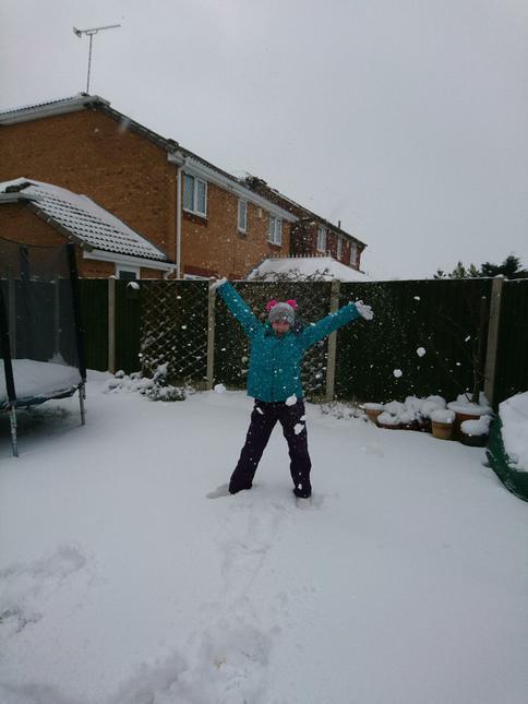 Aoife having fun in the garden ...