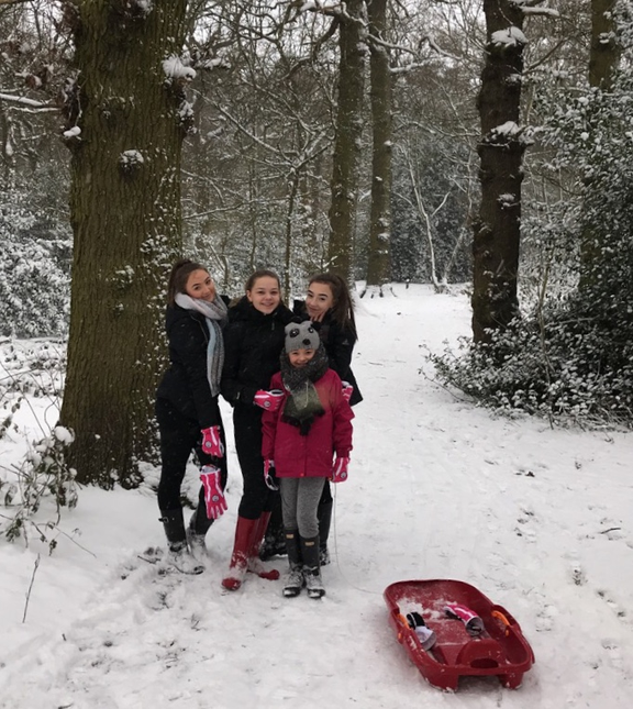 Annabelle, Leah, Freya and Lily in the woods