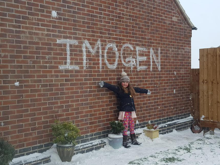 Imogen wrote her name in the snow