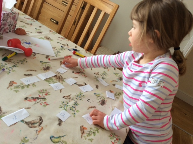 Ginny enjoyed playing with words indoors too