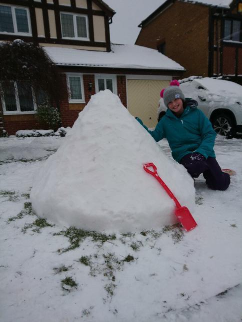 building a snowcastle.