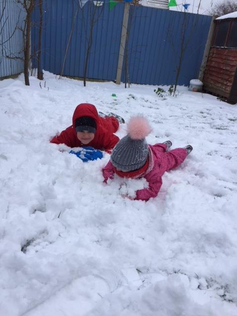 Alex and Elena enjoying the snow