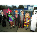 Some fancy dress winners receiving their prizes