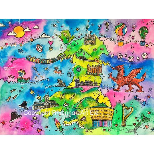 Draw and colour a map of wales in the style of the artist