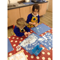 We painted Winter pictures.