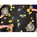 Using fine motor skills to squeeze lemons and oranges