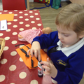 We explored materials to make tigers