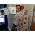 Amber printed her cave art onto fabric!