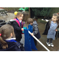 We explored water play using pipes.