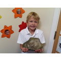 Reece carved this cave art into a real stone!!