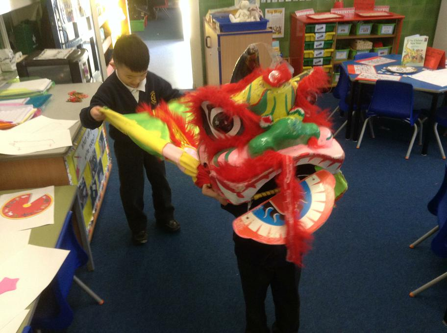 Isaac showed everyone how to do the Lion dance