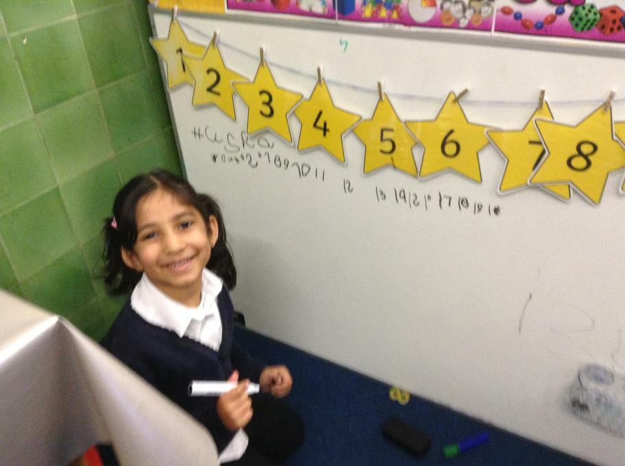 Husna used the stars to help her write numbers