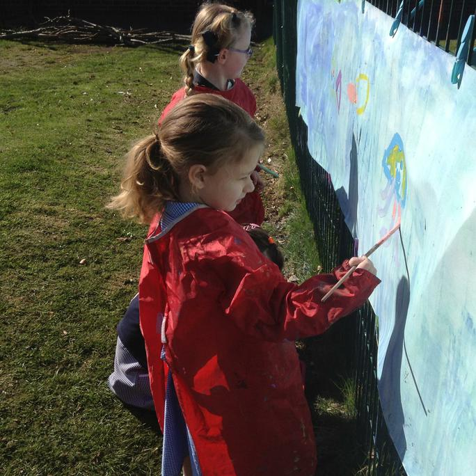 Painting sea creatures outside