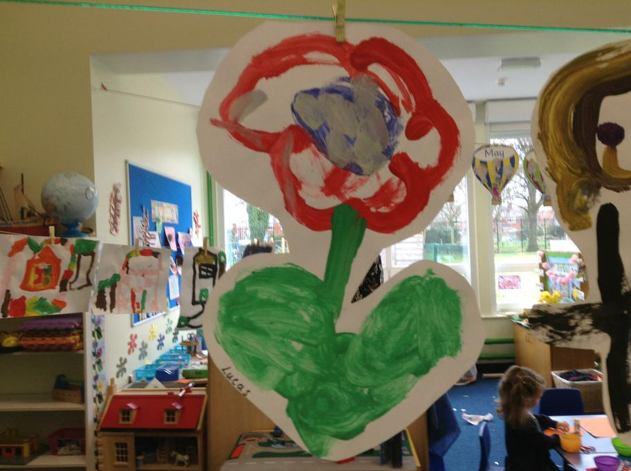 We observed Spring flowers and painted pictures