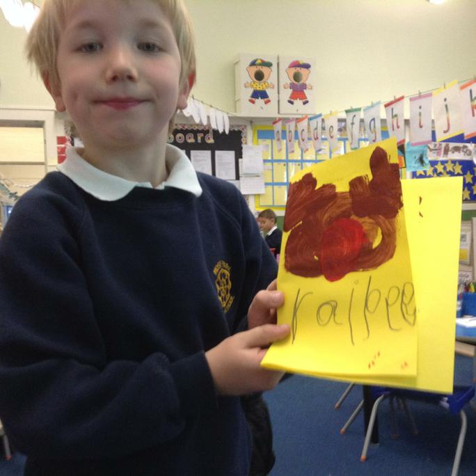 James painted a reindeer and labelled it