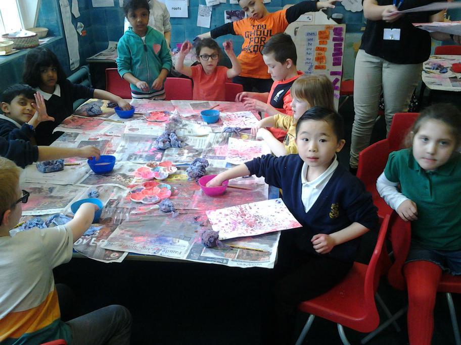 We enjoyed making Holi paintings.