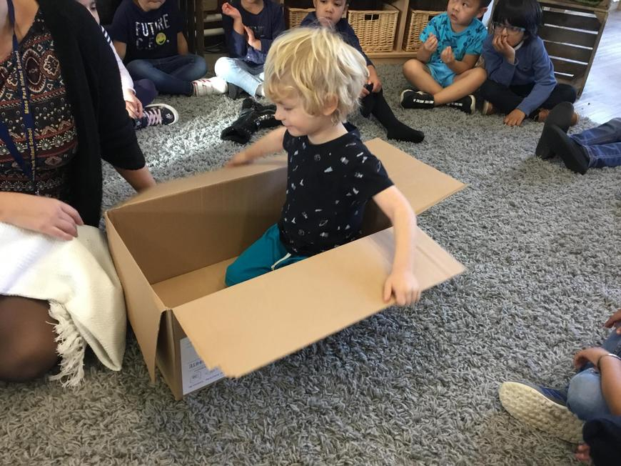 We reuse boxes in our classrooms