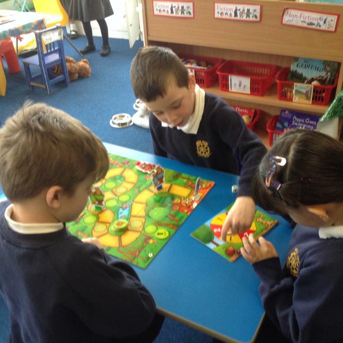 Taking turns playing the Goldilocks board game