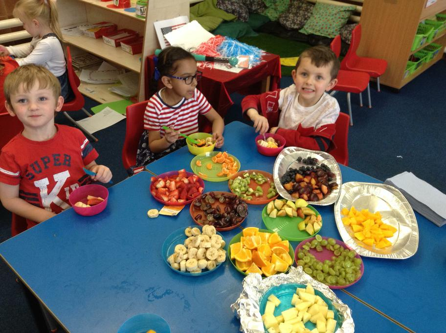 We enjoyed trying lots of different healthy fruits