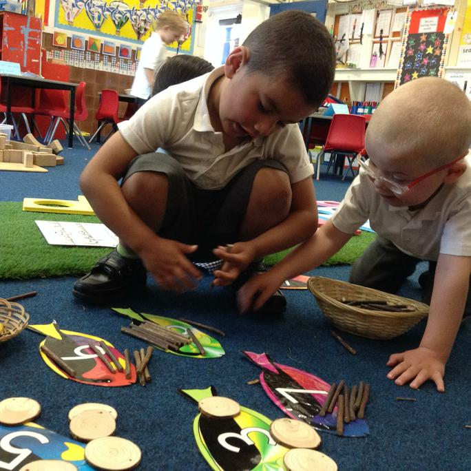 Dylan and Jack practising counting