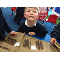 making teen numbers with sticks