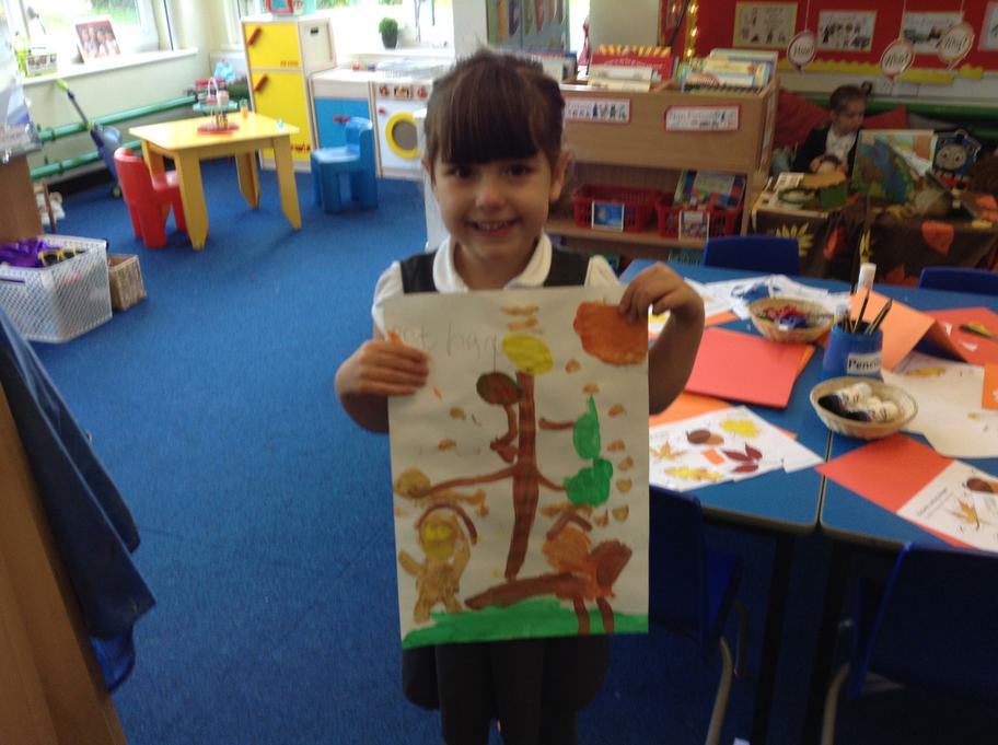 A beautiful Autumn tree, squirrel and an owl!