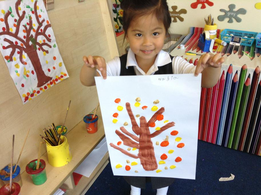 Painting Autumn trees using lots of Autumn colours