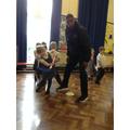 Hockey sticks with Mr Jordan