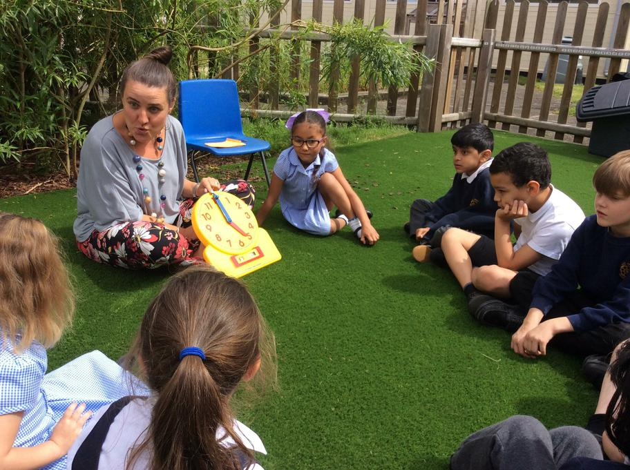 outdoorwe were learning to read the o'clock times