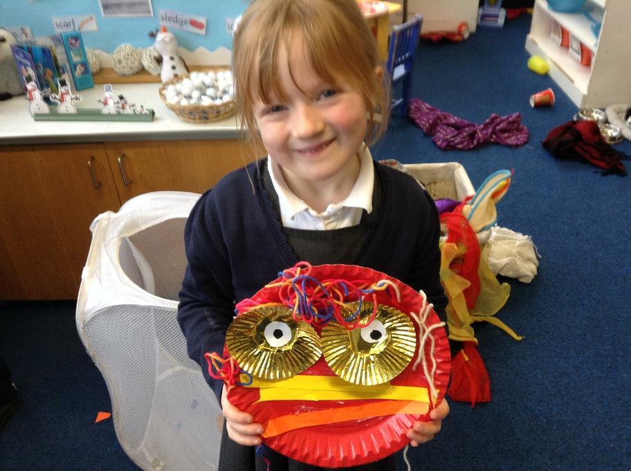 Neave made a paper plate Dragon