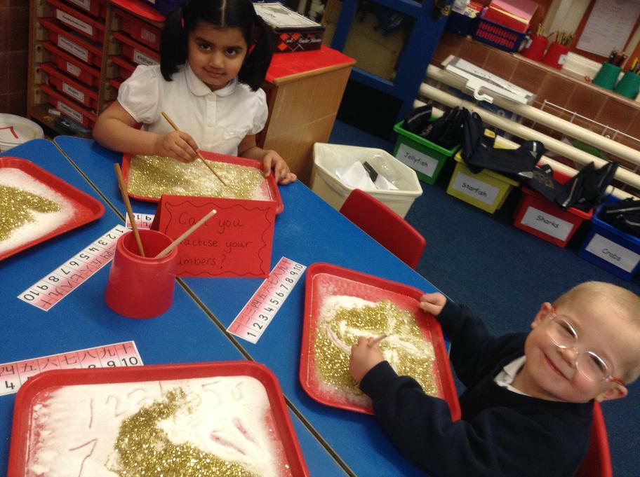 writing numbers using chopsticks!