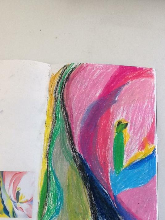 Year 3 Artist Study (Georgia O'Keeffe) oil pastel