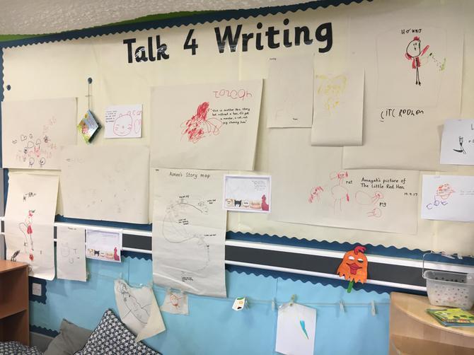 Reception's Talk 4 Writing working wall