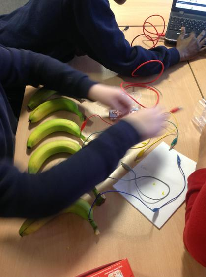 We used bananas to play a piano.