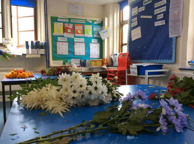 The sorted flowers ready to be arranged.