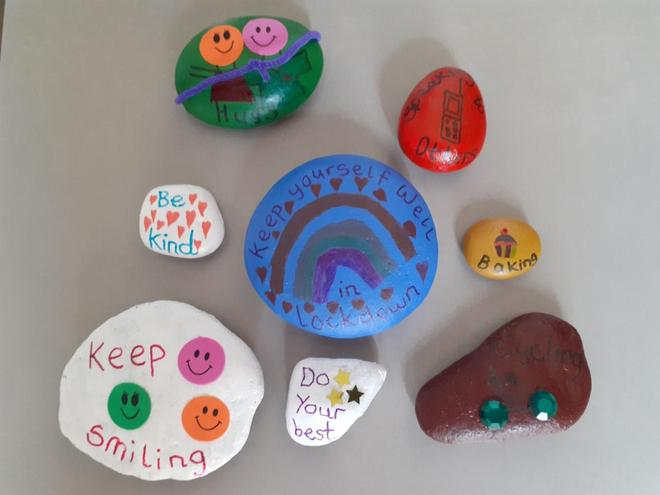 Millie decorated pebbles for Wellbeing week.