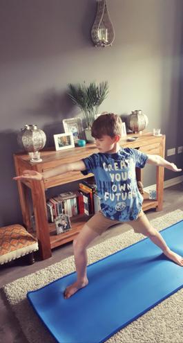 George practising yoga
