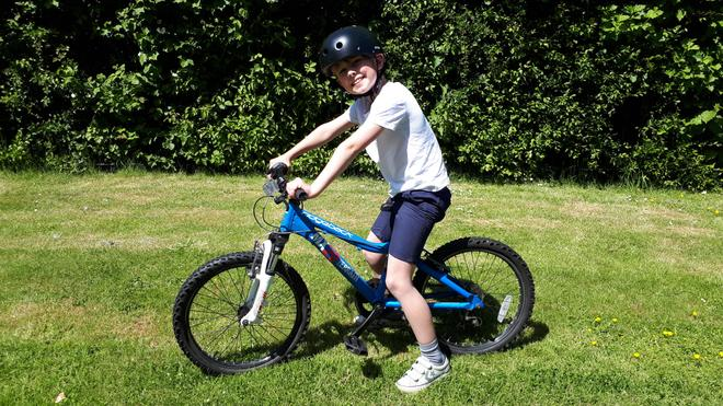 George on his mean machine!